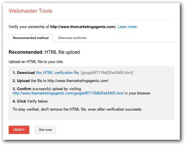 Verifying Your Site with Google Webmaster