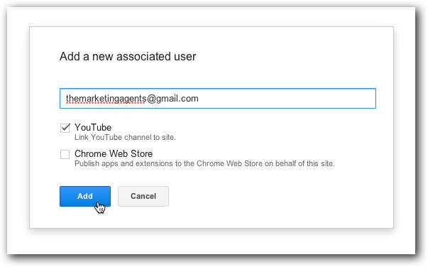 Webmaster Tools: Add a new associated user