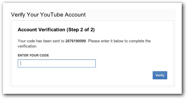 Verify code for your YouTube account.