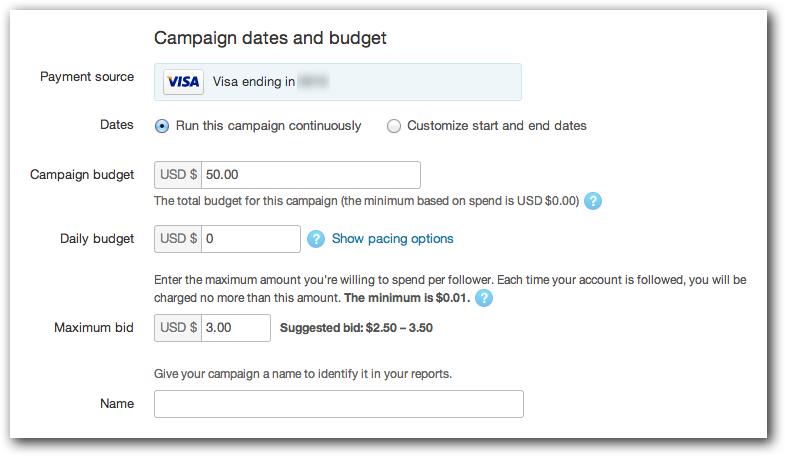 Setting a Budget for Your Twitter Ads