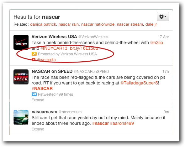 Example of Promoted Tweet in Search